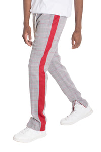 SLIGHT PLAID TRACK PANTS- RED