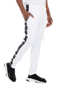 LEATHER TRACK PANTS - WHITE