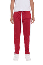 Load image into Gallery viewer, TRICOT STRIPED TRACK PANTS- RED