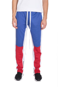 COLOR BLOCK TRACK PANTS- ROYAL/RED