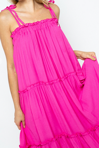 Hot Pink Tiered Maxi