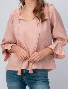 Blush Tie Neck Gauze Top
