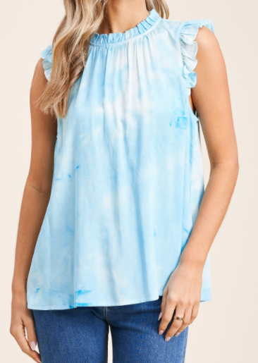 Electric Blue Tie Dye Top