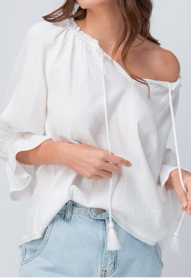 White Tie Neck Gauze Top