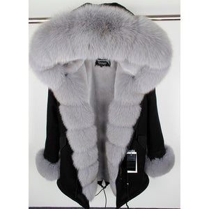 Natural real fox fur Jacke coat Real Fox Fur Collar Cuff Hooded Coat Short Parka Long Camouflageh winter jacket
