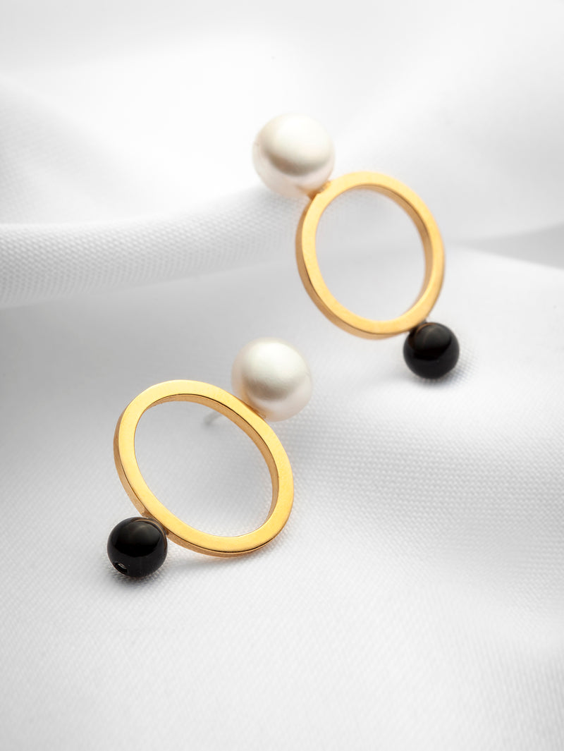 Gold vermeil statement earrings with pearls and black onyx by vemtl