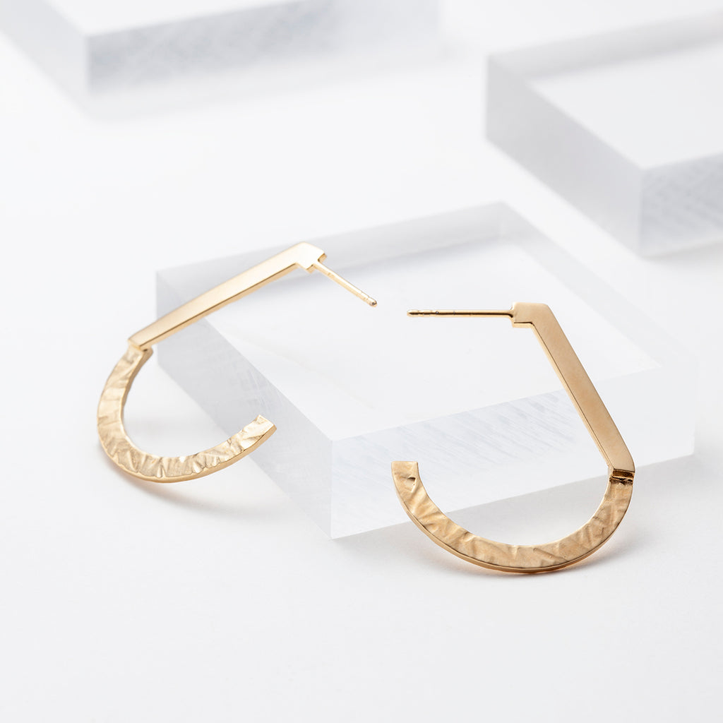 14k gold plated J shape hoop stud earrings