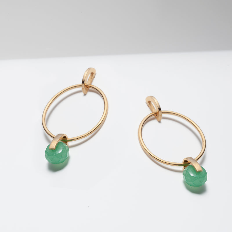 Gold plated large dangle hoops with green aventurine for women