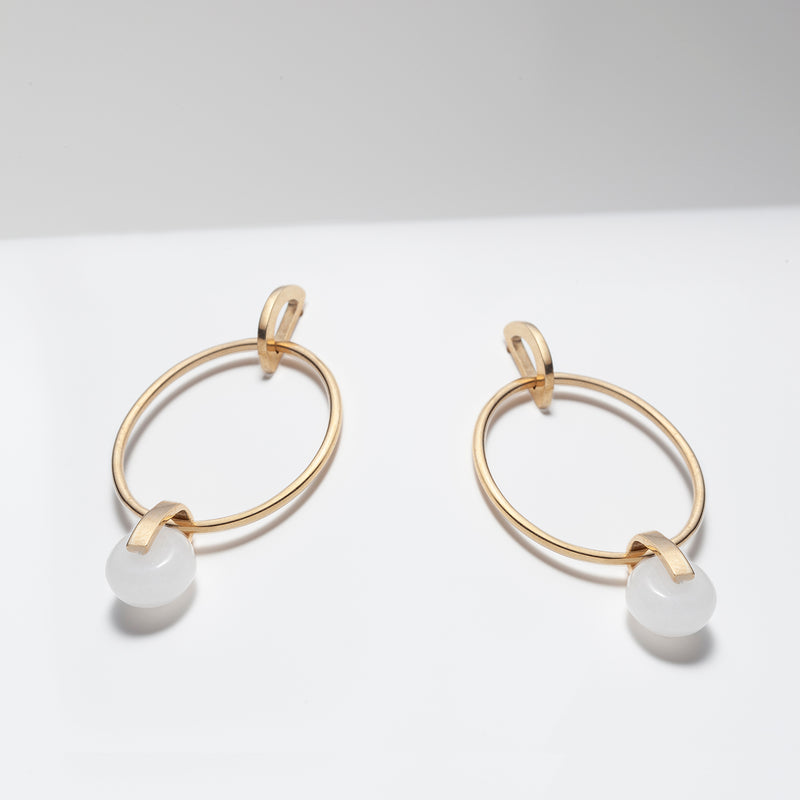14k gold plated silver hoop earrings with white jade
