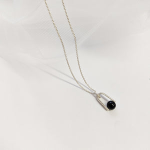 Handmade jewellery set in silver with black onyx