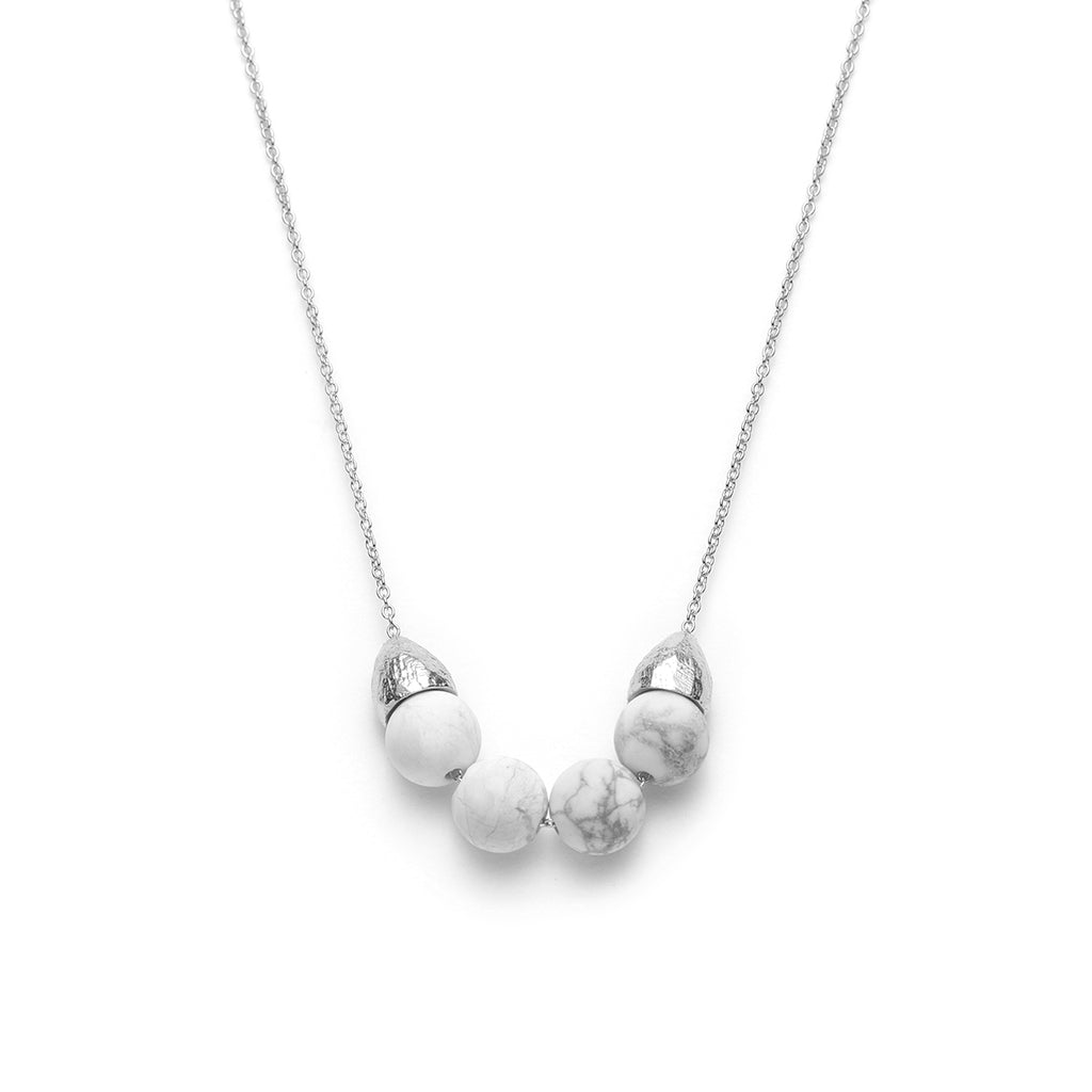 Alice, everyday necklace with white howlite marble