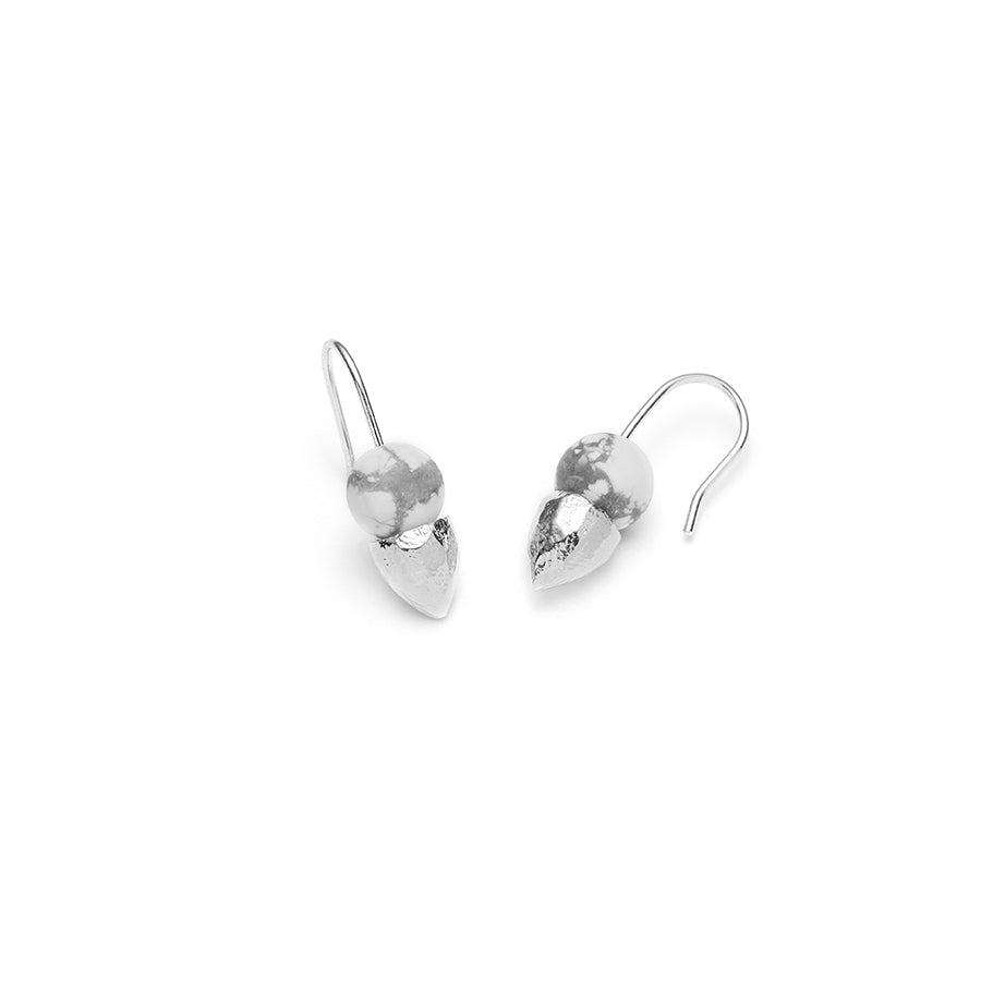 Alice, short dangle earrings with white howlite marble