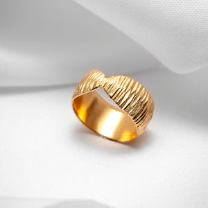 Gold vermeil wide band ring textured for women
