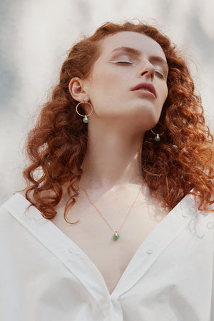 Gold plated large hoop earrings and necklace with green aventurine
