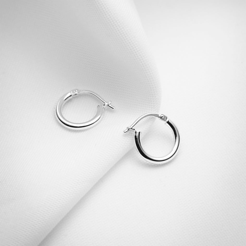 Small plain sterling silver hoop earrings
