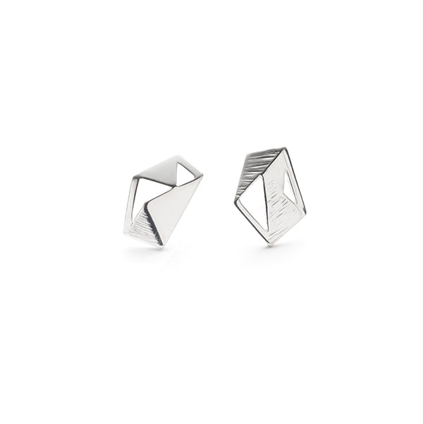 Architect, Asymmetrical sterling silver geometric stud earrings