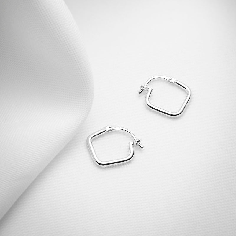 Square sterling silver dainty hoop earrings
