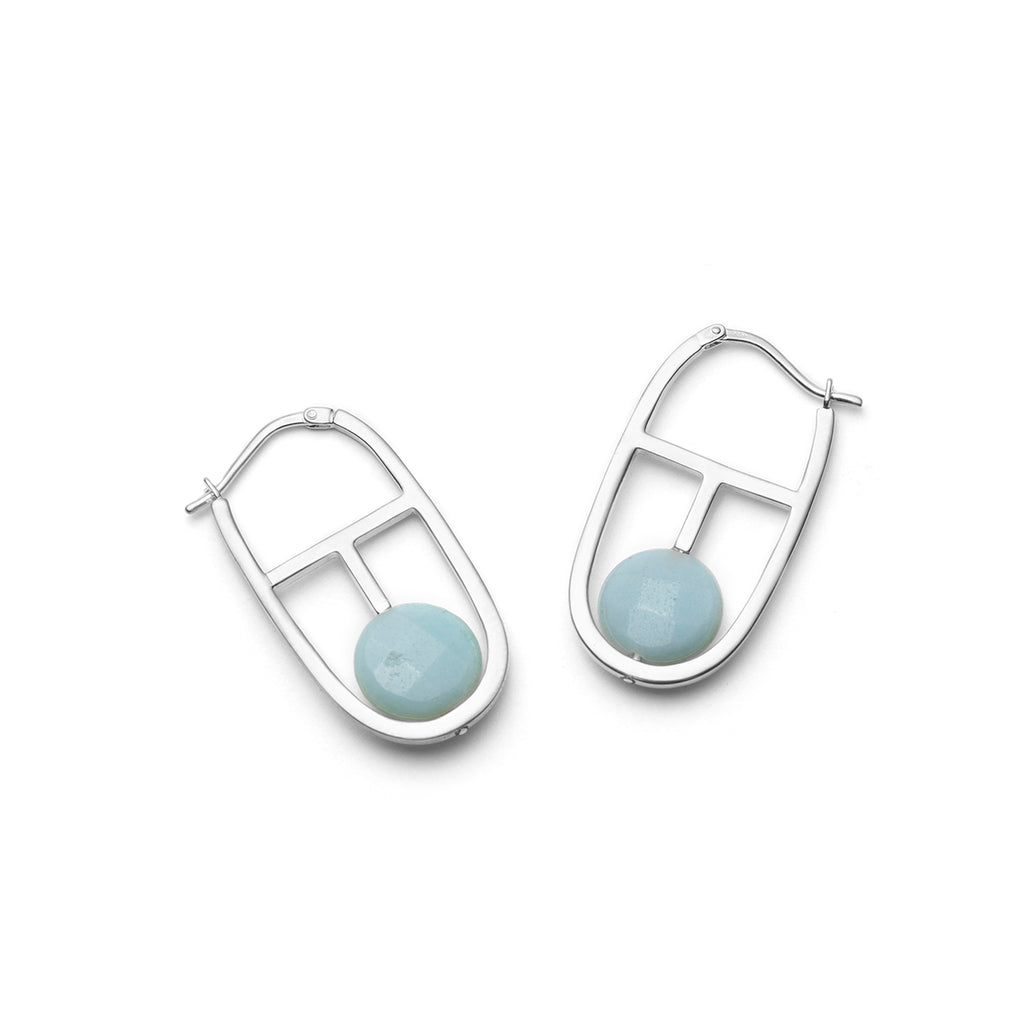 Clara, blue stone hoop earrings