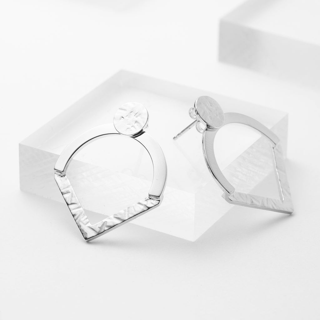 Bold sterling silver geometric ear jacket