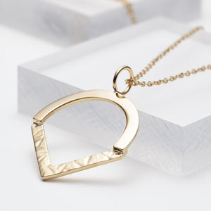 Gold vermeil semi circle pointy pendant necklace