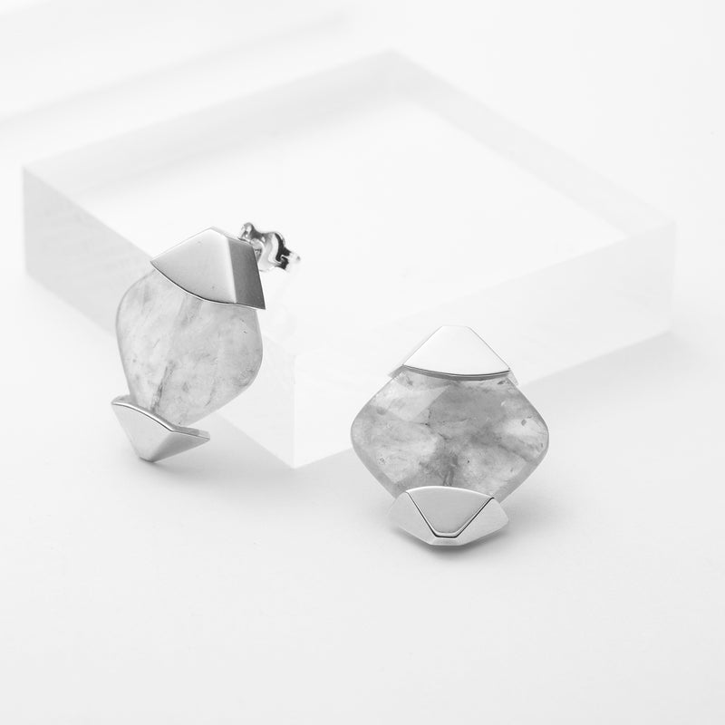 Diamond shaped sterling silver grey cloudy quartz stud earrings