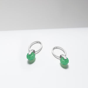 Sterling silver green aventurine hoop stud earrings