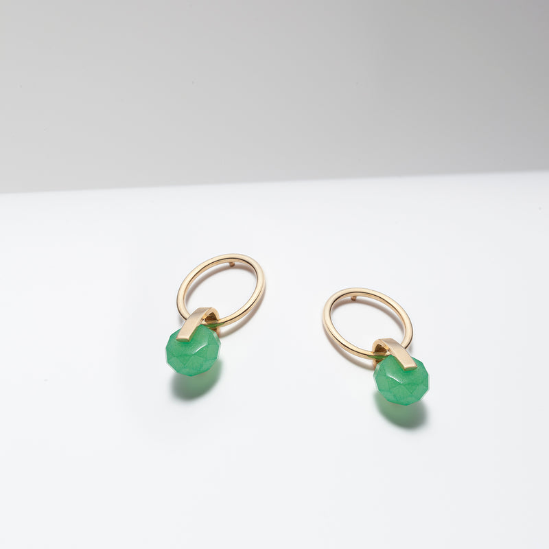 green stone drop earrings gold