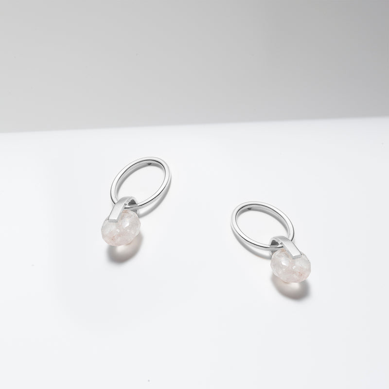 Rose quartz sterling silver hoops