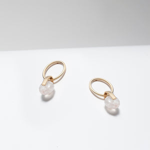 Rose quartz gold dangle hoop earrings