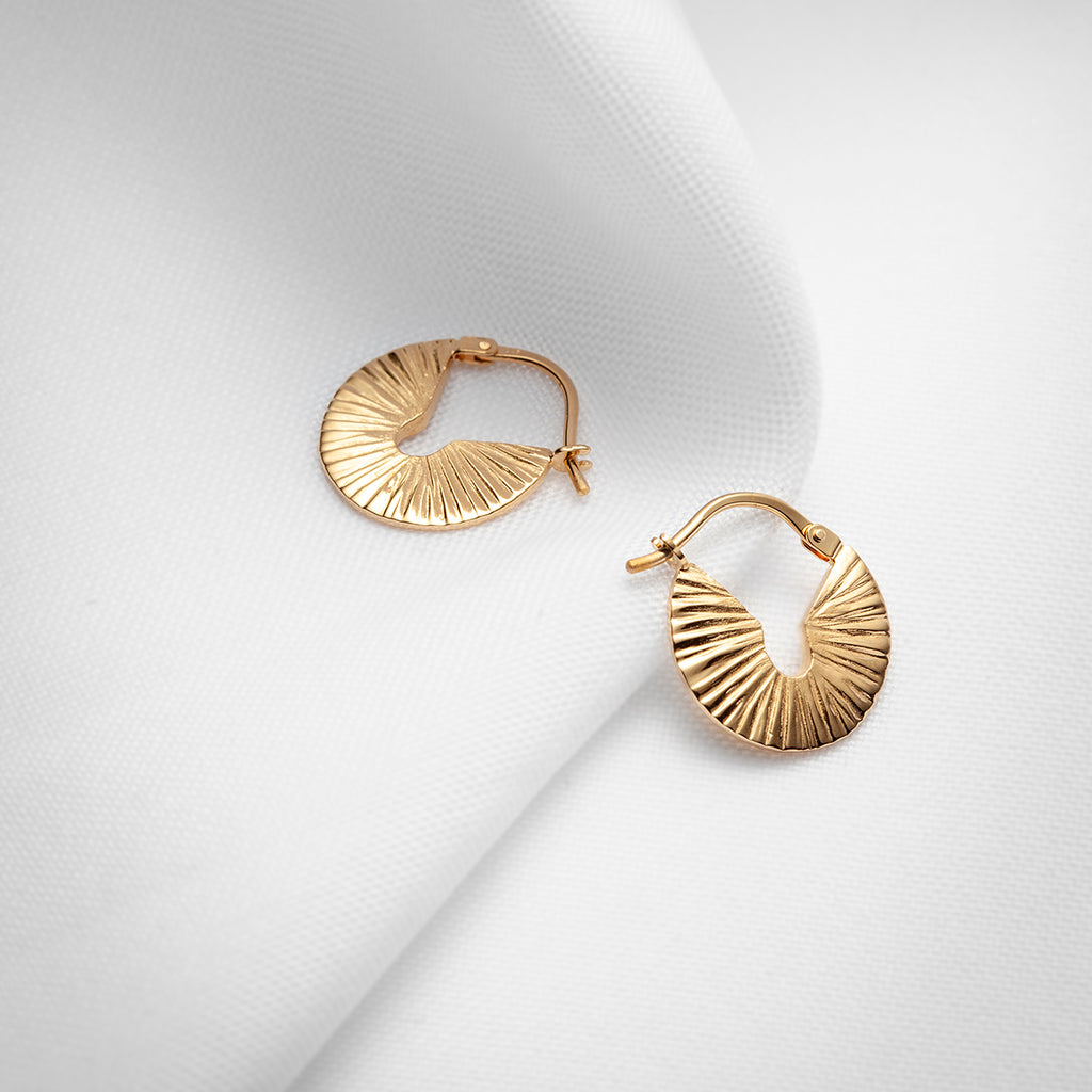 Round gold plated vermeil wide little textured hoop earrings