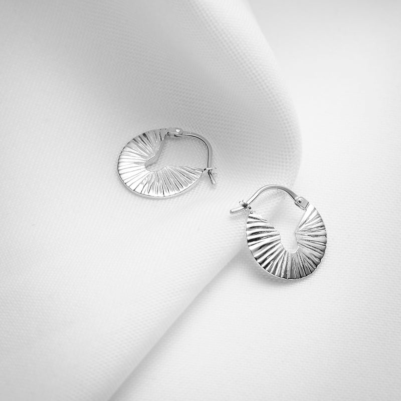 Small thick textured sterling silver round hoops earrings