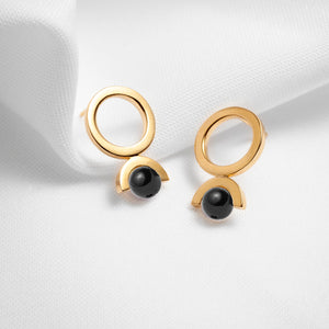 Gold vermeil black onyx stone open circle earrings