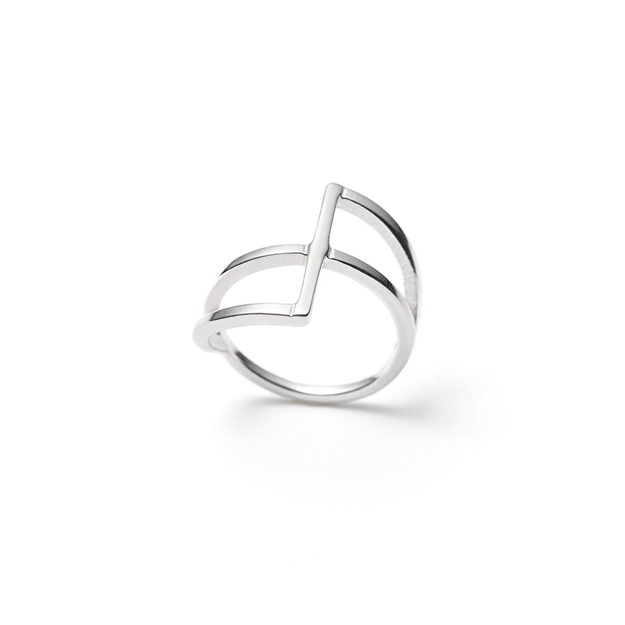 Intersection, double bar sterling silver ring