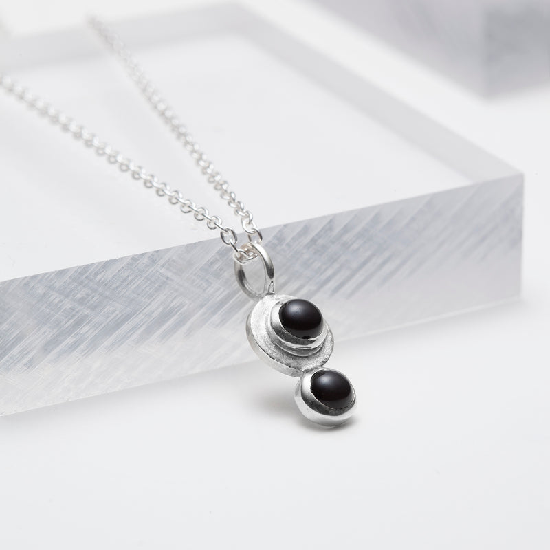 Black onyx silver pendant necklace