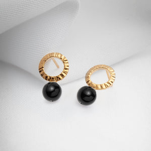 Gold plated open circle hammered black onyx earrings