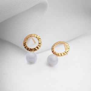 Dainty gold circle studs with blue lace agate