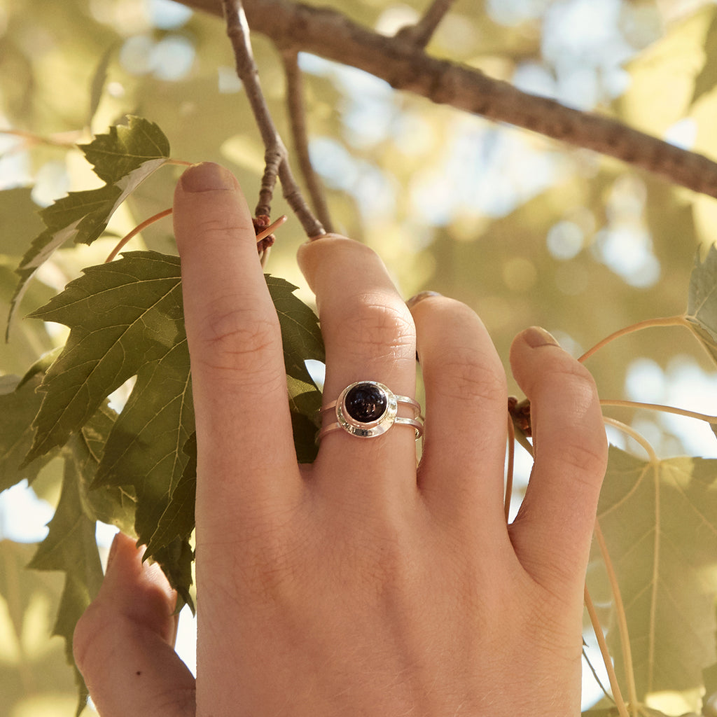 Sterling silver double band ring with black onyx