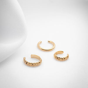 Gold mini ear cuff set of three
