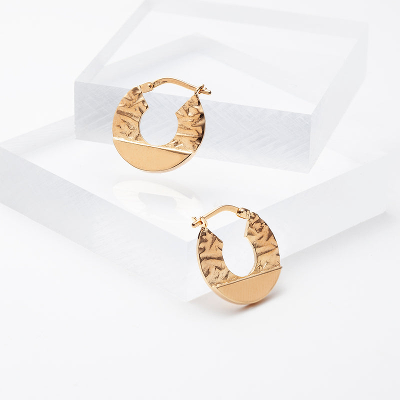 Gold plated thick hoop earrings