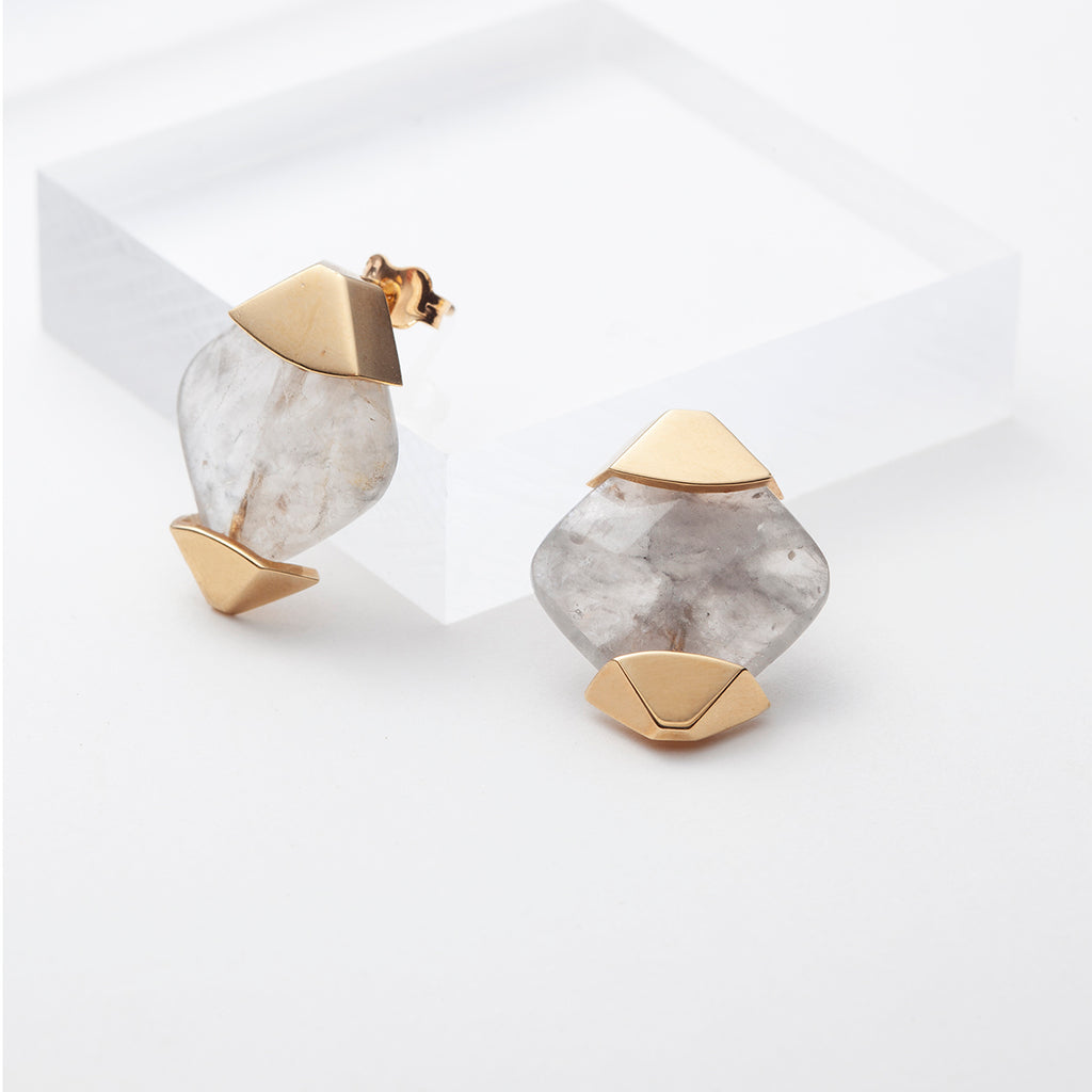 Gold plated gray stones diamond shaped statement earrings