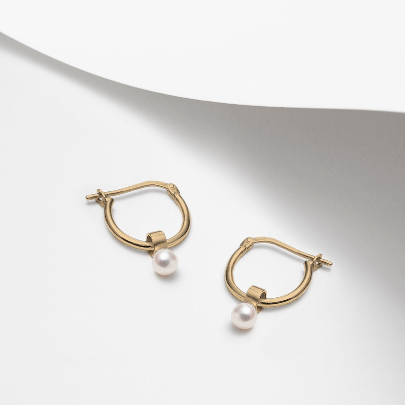Haumea, freshwater pearls dangle hoop earrings in silver or gold plated