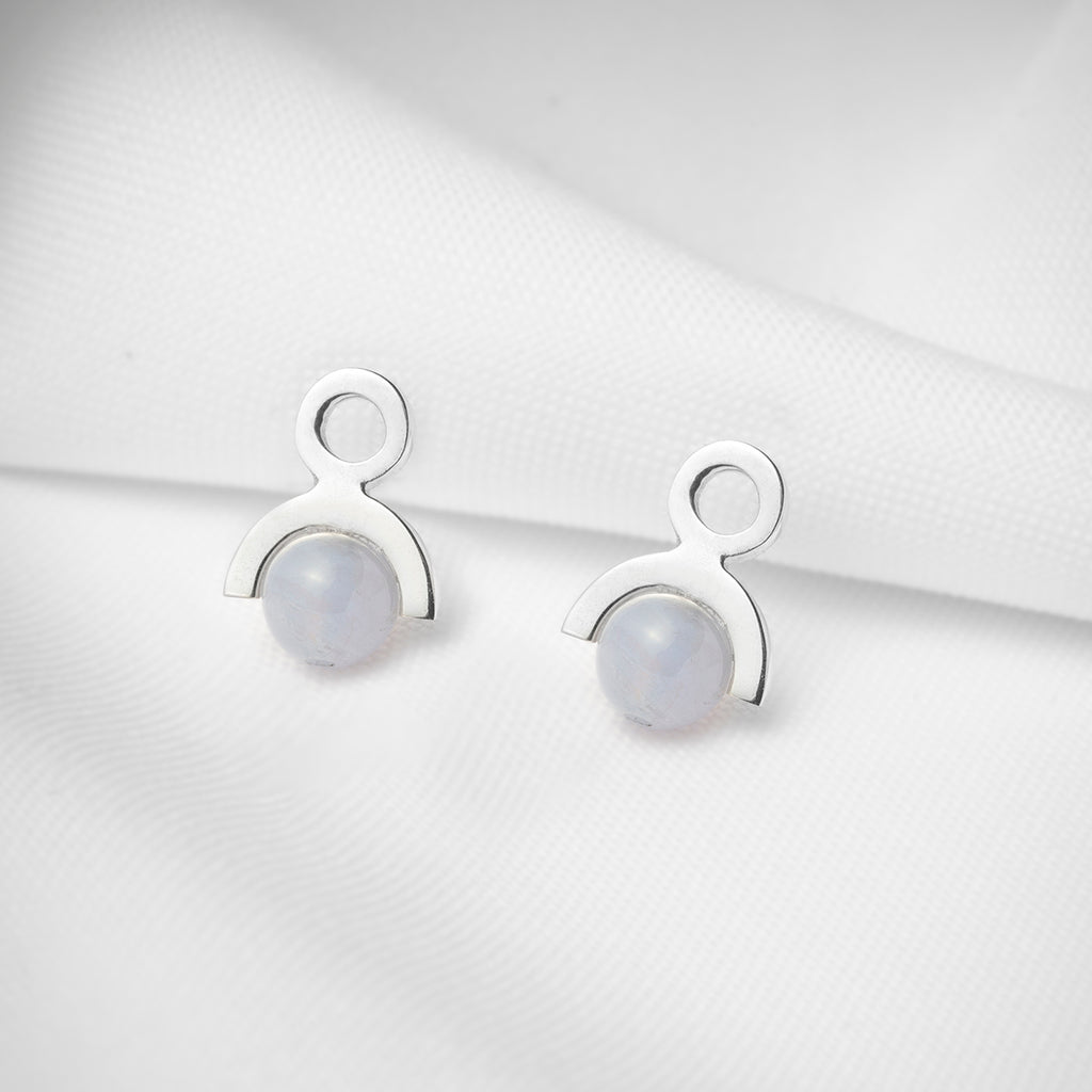 Small geometric stud earrings in sterling silver with blue lace agate