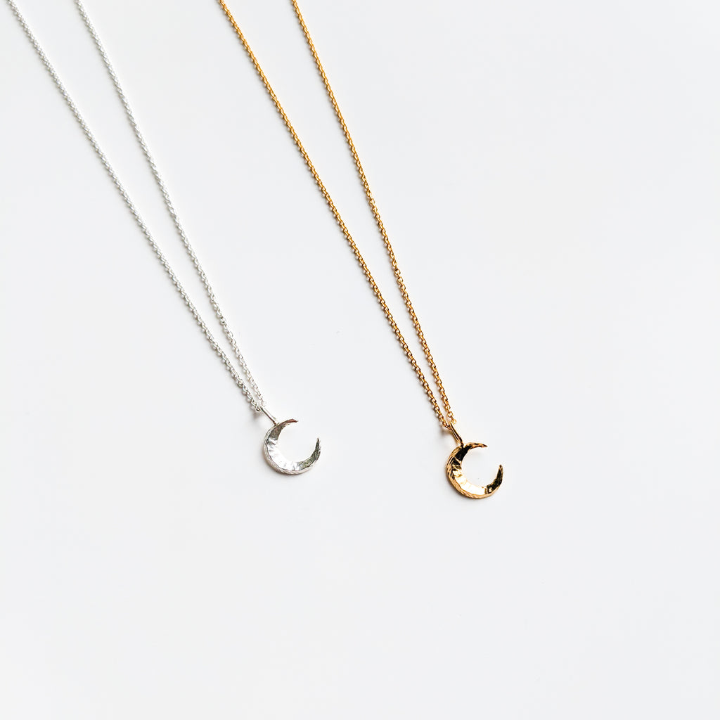 Moon pendant necklace in sterling silver and gold plated
