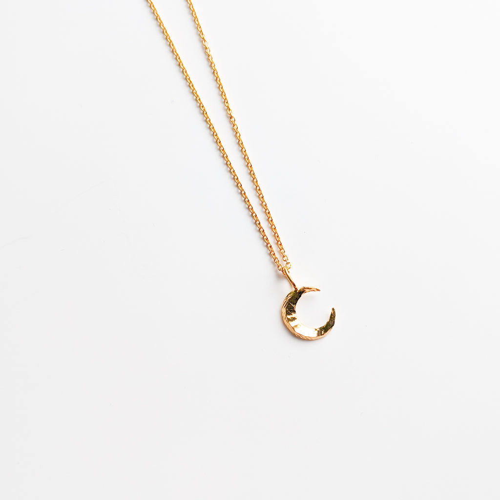 Gold plated moon charm necklace