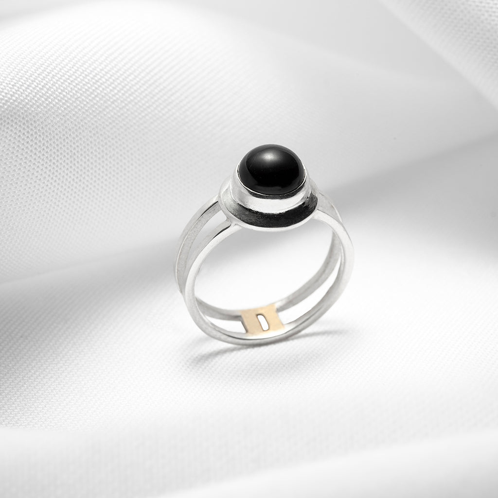 925 solid sterling silver double band ring with black onyx gemstone