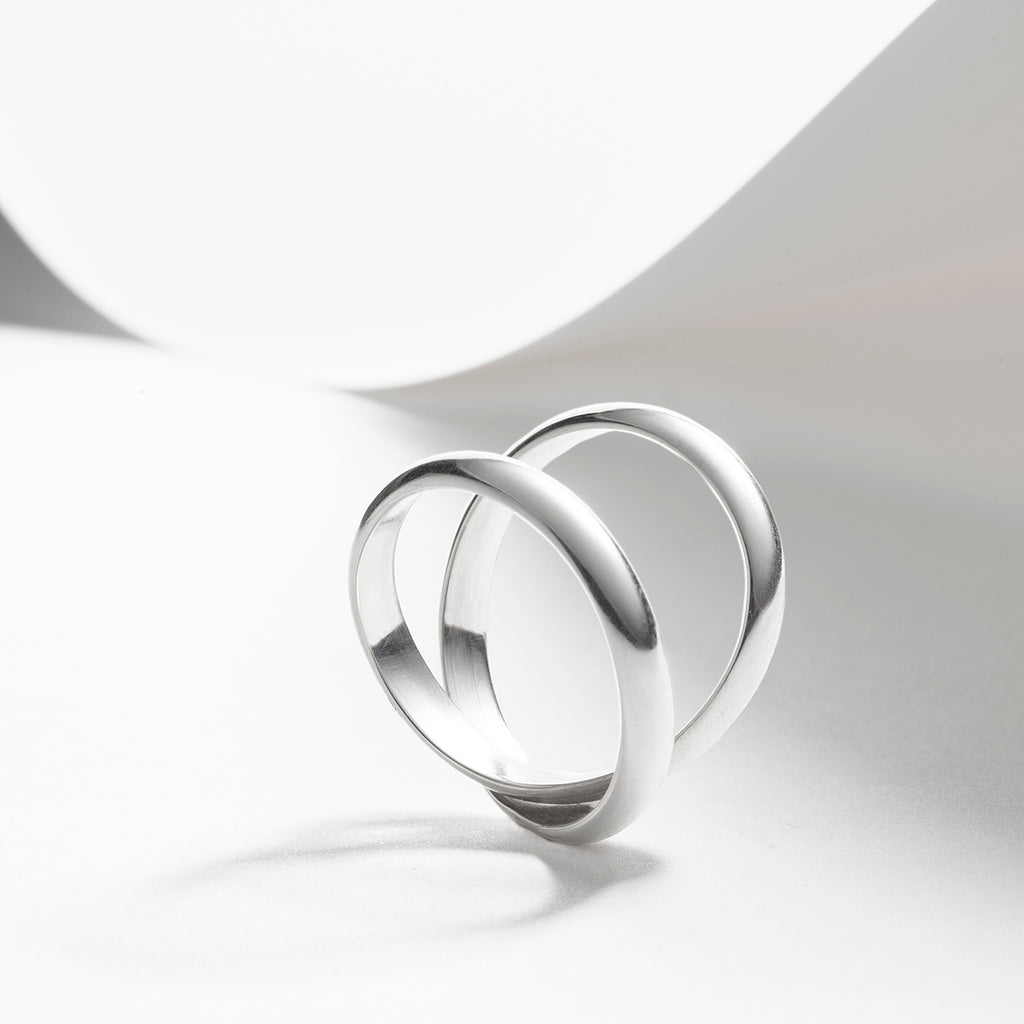 Infinity, double ring in sterling silver