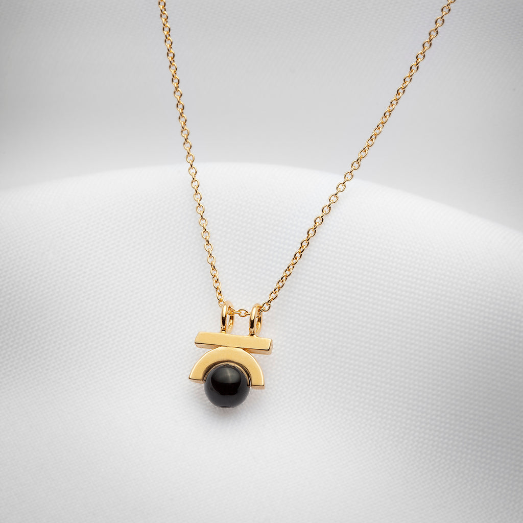 small stone pendant necklace gold plated with black onyx