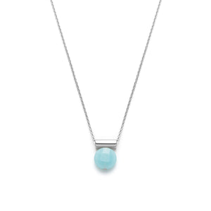 Sterling silver faceted amazonite necklace pendant
