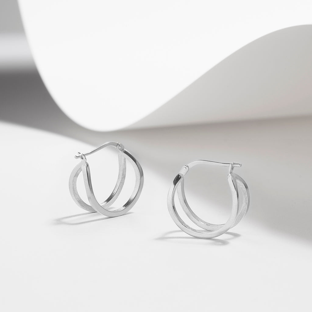 Maffei, double hoop earrings in sterling silver or plated gold