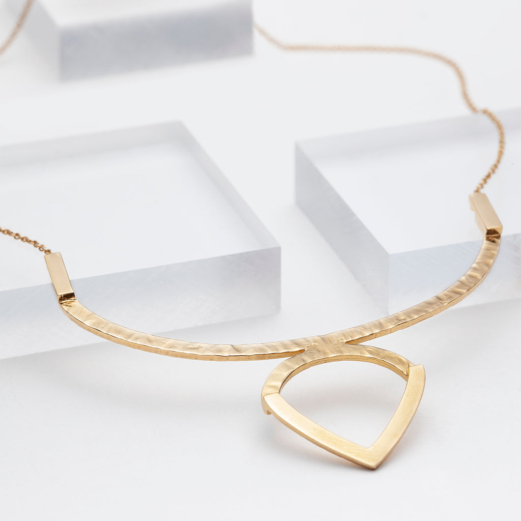 Gold geometric hammered statement necklace